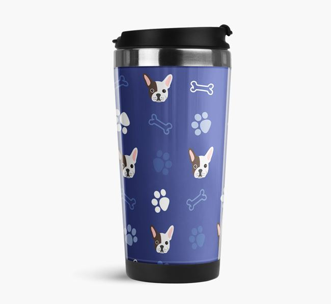 Travel Flask with French Bulldog Icon Pattern