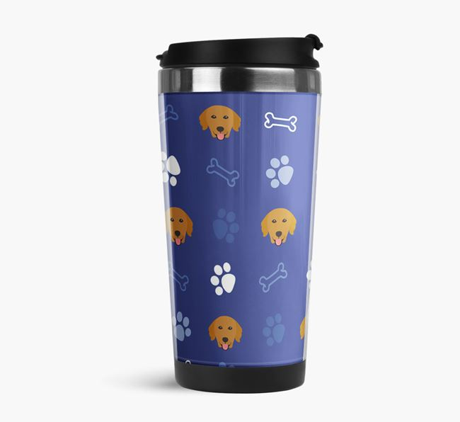 Travel Flask with Golden Retriever Icon Pattern