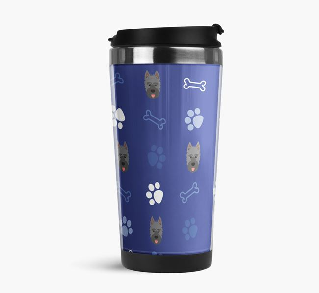 Travel Flask with Picardy Sheepdog Icon Pattern