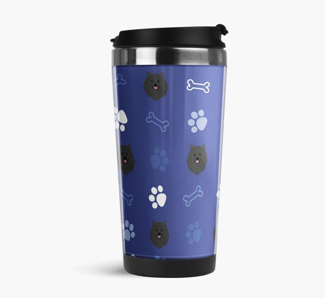 Travel Flask with Pomeranian Icon Pattern