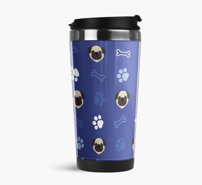 Travel Flask with Pug Icon Pattern