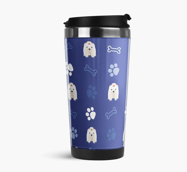 Travel Flask with Shih Tzu Icon Pattern