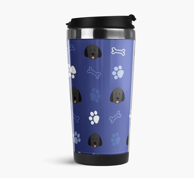 Travel Flask with Dog Icon Pattern