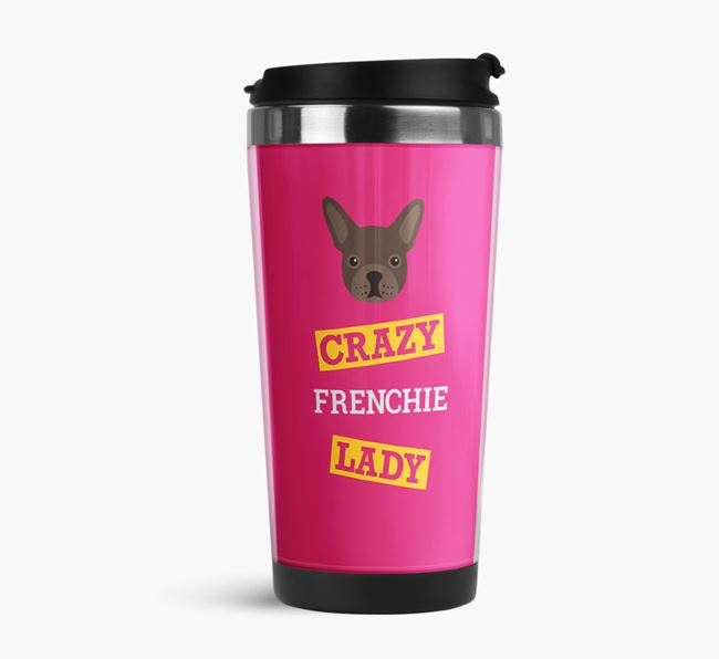 'Crazy Frenchie Lady' Travel Flask with French Bulldog Icon