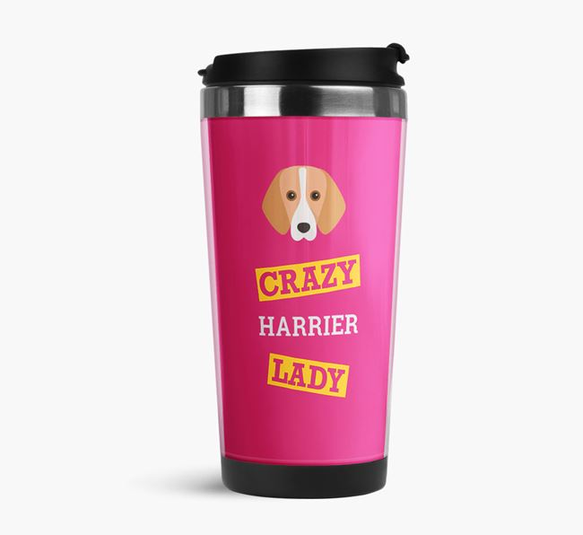 'Crazy Harrier Lady' Travel Flask with Harrier Icon