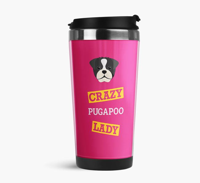 'Crazy Pugapoo Lady' Travel Flask with Pugapoo Icon