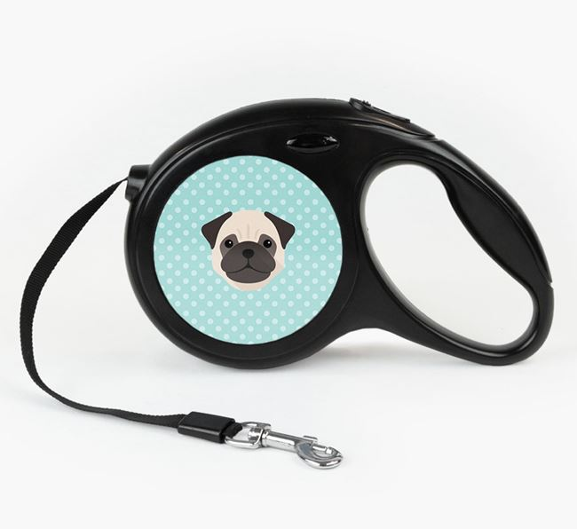 Retractable Lead with Spots and Dog Icon