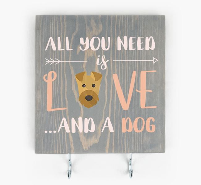 Wooden Sign 'All You Need Is Love...' with Airedale Terrier Icon