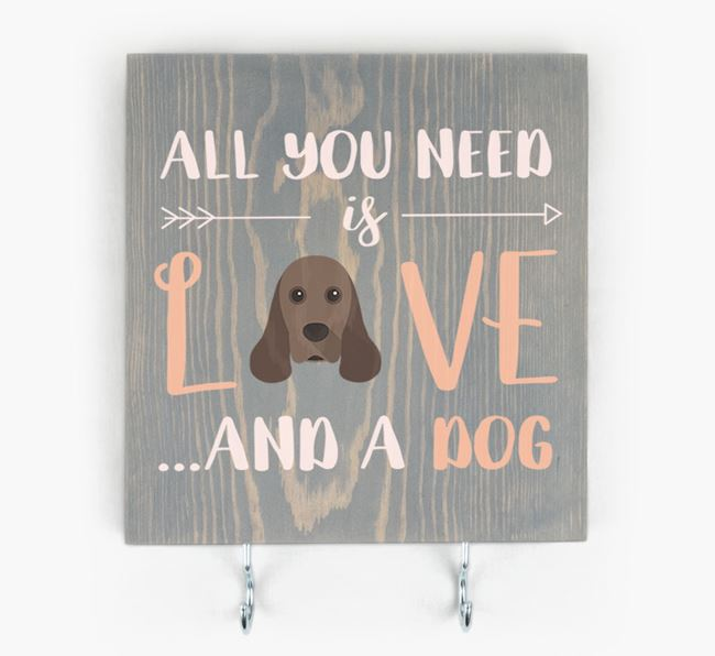 Wooden Sign 'All You Need Is Love...' with American Cocker Spaniel Icon