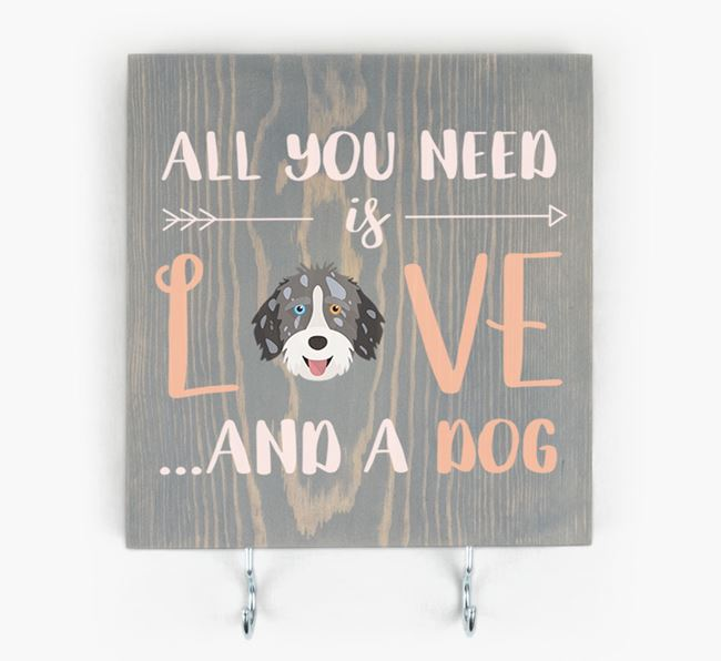 Wooden Sign 'All You Need Is Love...' with Aussiedoodle Icon
