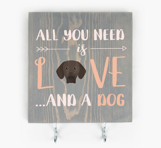 Wooden Sign 'All You Need Is Love...' with Bavarian Mountain Hound Icon