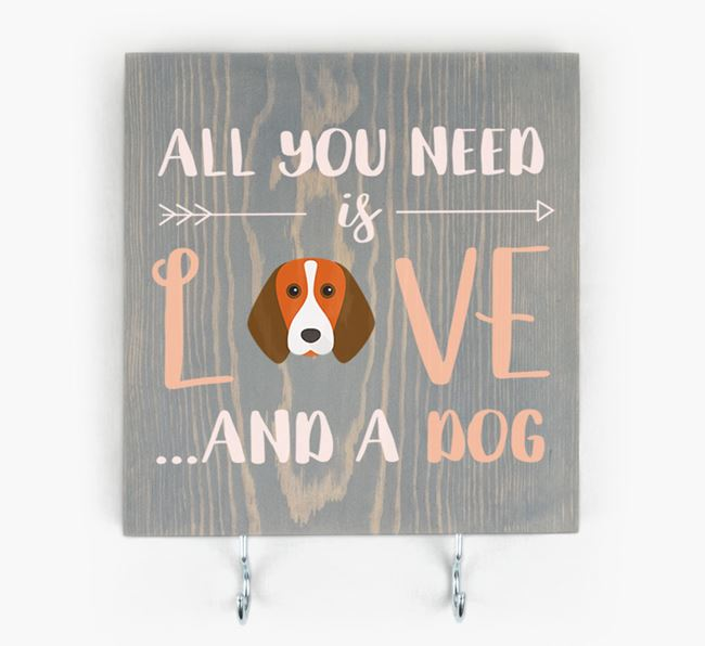 Wooden Sign 'All You Need Is Love...' with Beagle Icon