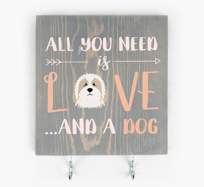 Wooden Sign 'All You Need Is Love...' with Bearded Collie Icon