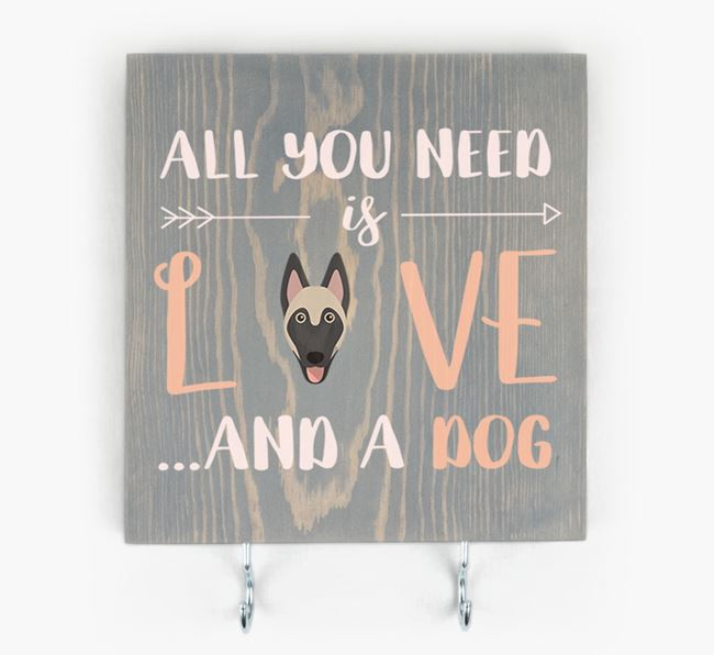 Wooden Sign 'All You Need Is Love...' with Belgian Malinois Icon