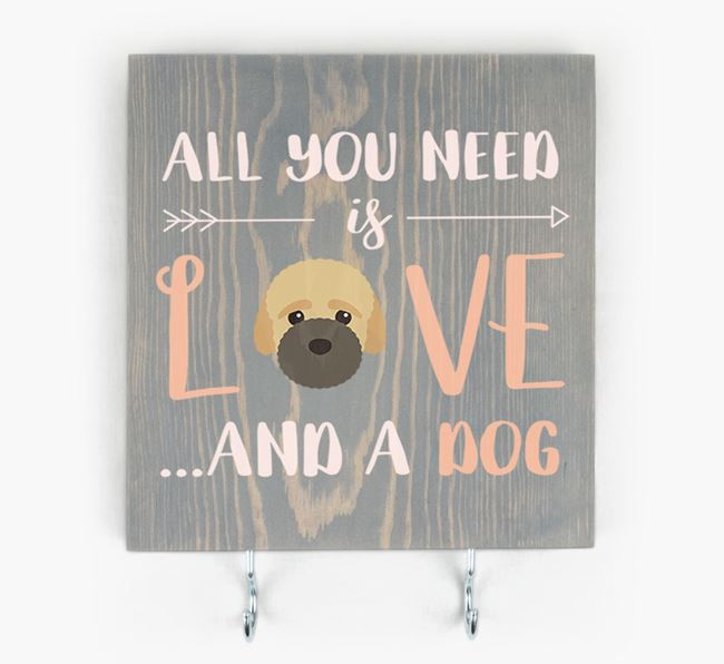 Wooden Sign 'All You Need Is Love...' with Bich-poo Icon