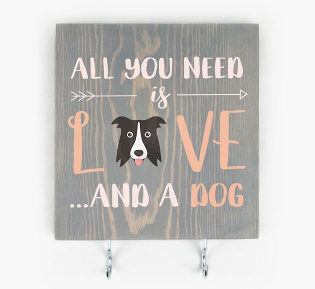 Wooden Sign 'All You Need Is Love...' with Dog Icon