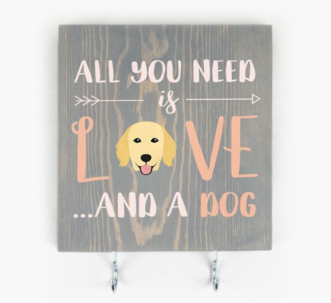 Wooden Sign 'All You Need Is Love...' with Flat-Coated Retriever Icon