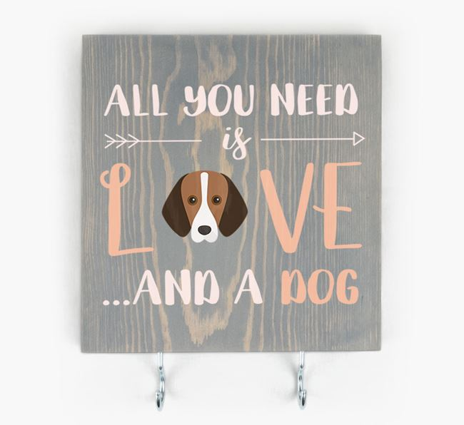 Wooden Sign 'All You Need Is Love...' with Foxhound Icon