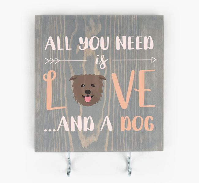 Wooden Sign 'All You Need Is Love...' with Glen Of Imaal Terrier Icon