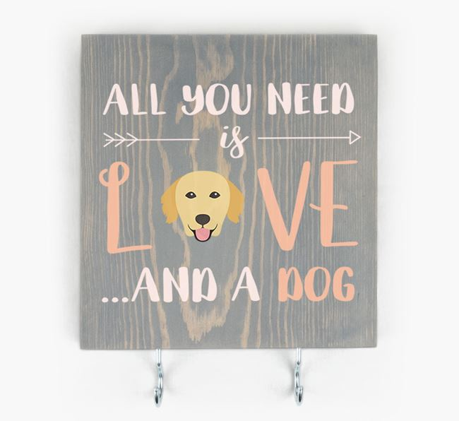 Wooden Sign 'All You Need Is Love...' with Golden Retriever Icon