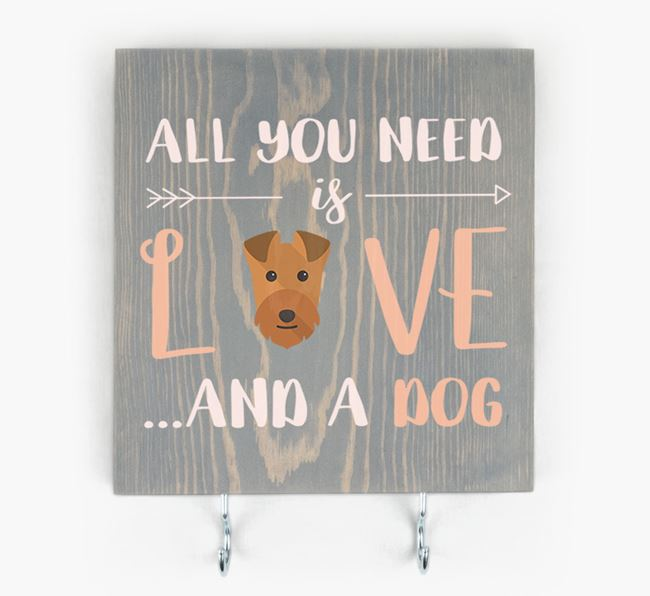 Wooden Sign 'All You Need Is Love...' with Lakeland Terrier Icon