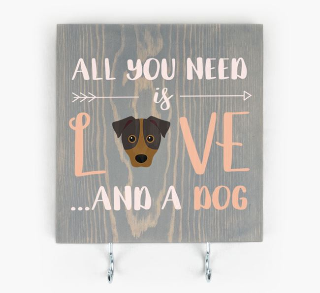 Wooden Sign 'All You Need Is Love...' with Mixed Breed Icon