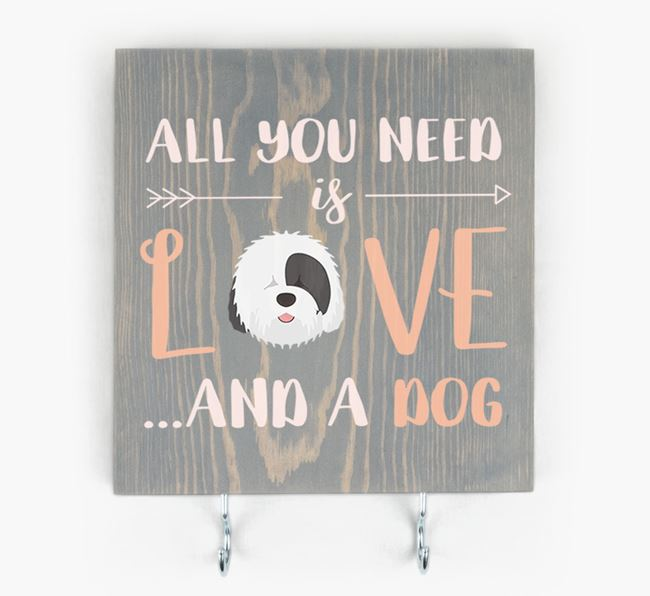 Wooden Sign 'All You Need Is Love...' with Old English Sheepdog Icon
