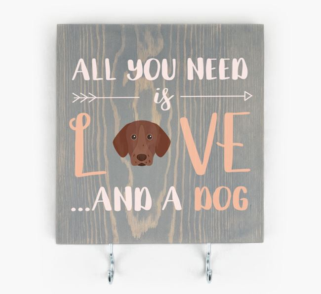 Wooden Sign 'All You Need Is Love...' with Pointer Icon