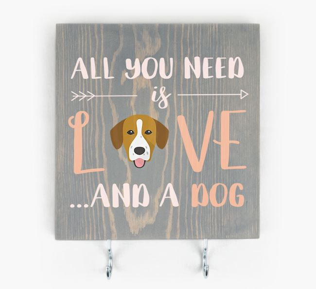 Wooden Sign 'All You Need Is Love...' with Springador Icon
