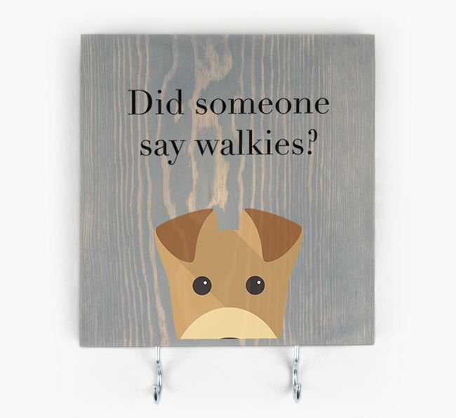 Wooden Sign 'Did someone say walkies?' with Airedale Terrier Icon