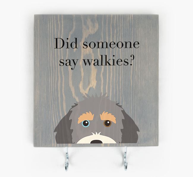Wooden Sign 'Did someone say walkies?' with Aussiedoodle Icon