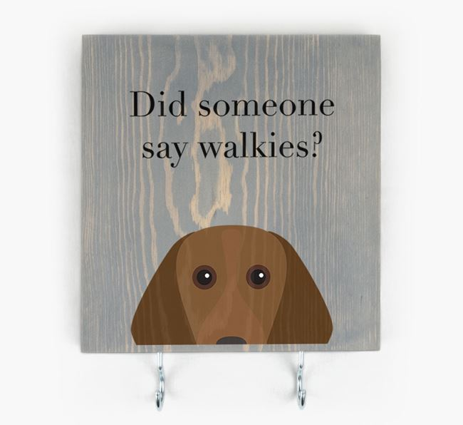 Wooden Sign 'Did someone say walkies?' with Beagle Icon