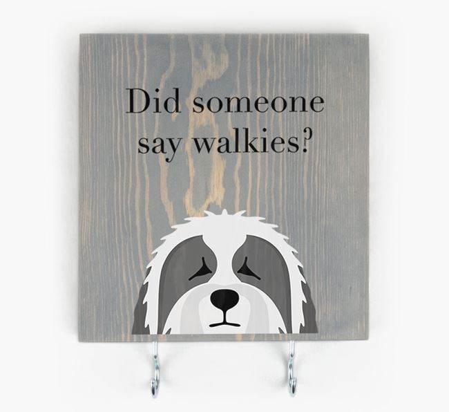 Wooden Sign 'Did someone say walkies?' with Bearded Collie Icon