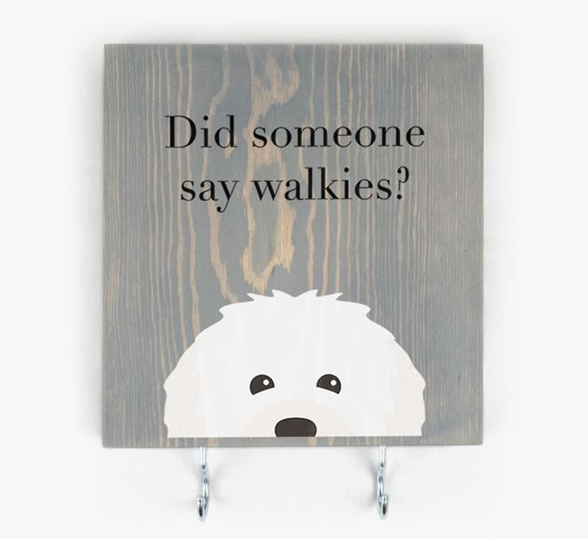 Wooden Sign 'Did someone say walkies?' with Bolognese Icon