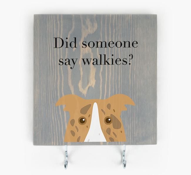 Wooden Sign 'Did someone say walkies?' with Border Collie Icon