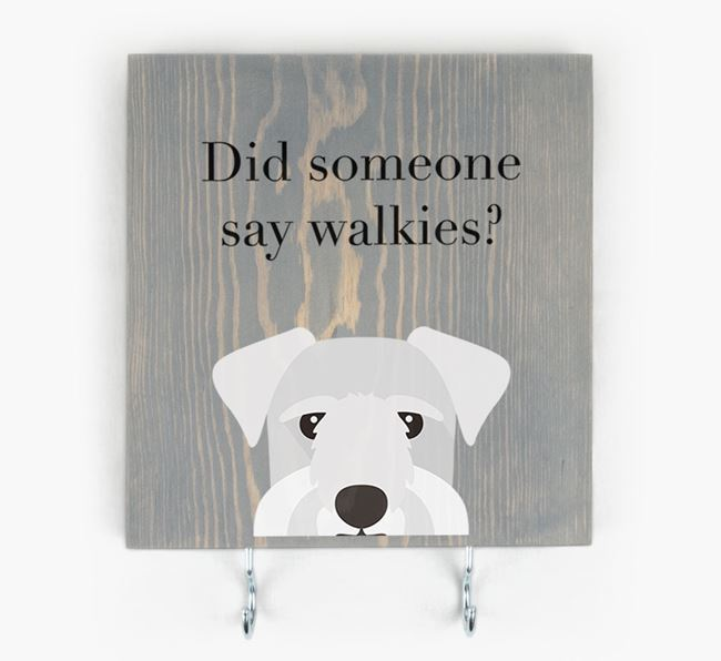 Wooden Sign 'Did someone say walkies?' with Cesky Terrier Icon