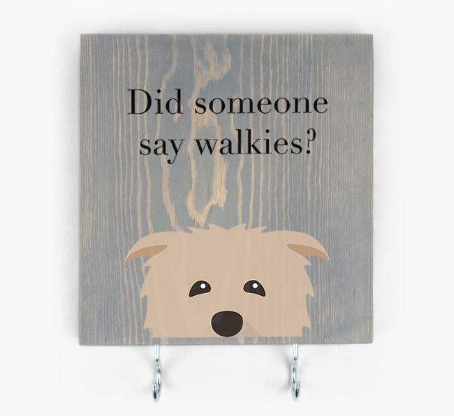 Wooden Sign 'Did someone say walkies?' with Glen Of Imaal Terrier Icon