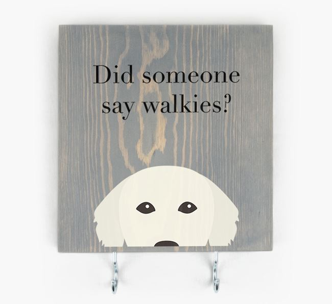 Wooden Sign 'Did someone say walkies?' with Golden Retriever Icon