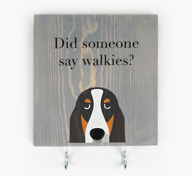 Wooden Sign 'Did someone say walkies?' with Grand Bleu De Gascogne Icon