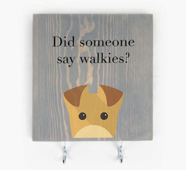 Wooden Sign 'Did someone say walkies?' with Lakeland Terrier Icon