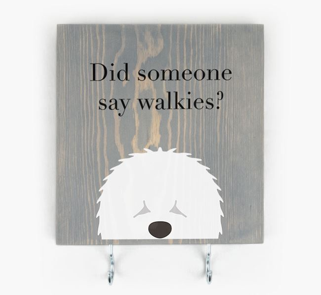Wooden Sign 'Did someone say walkies?' with Old English Sheepdog Icon
