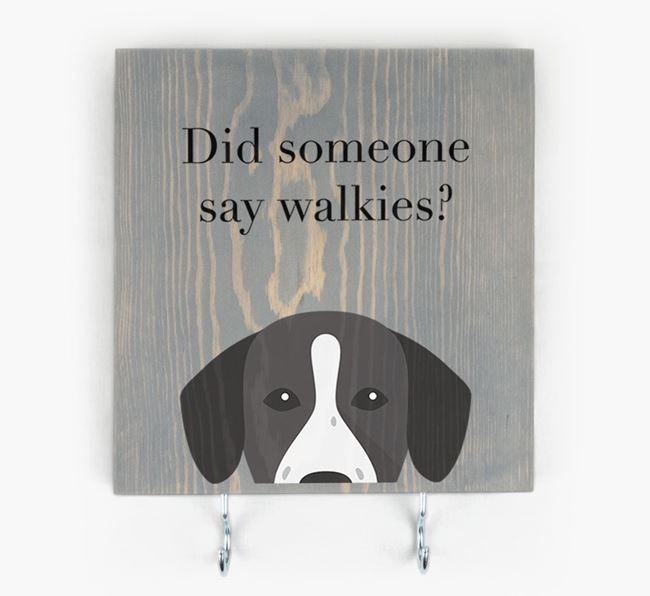 Wooden Sign 'Did someone say walkies?' with Springador Icon