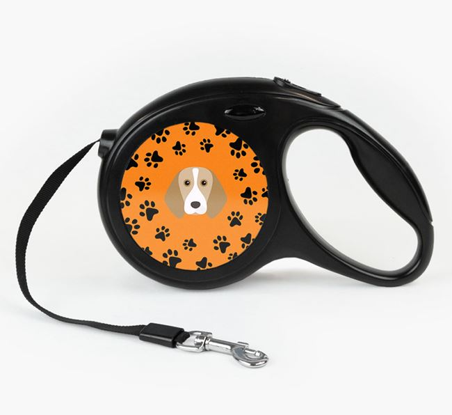 Retractable Lead with Paw Print Pattern and Beagle Icon