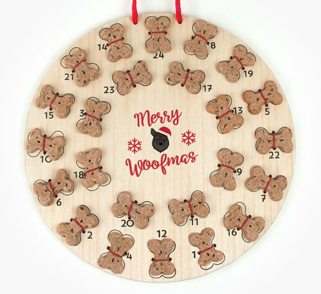 Personalised Dog Biscuit 'Merry Woofmas' Advent Calendar with Chihuahua Icon