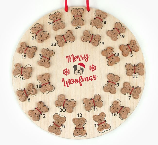 Personalised Dog Biscuit 'Merry Woofmas' Advent Calendar with English Bulldog Icon