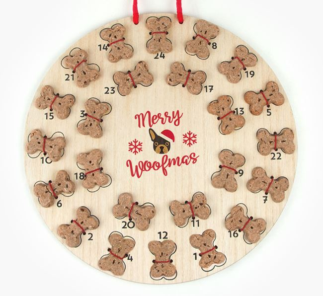 Personalised Dog Biscuit 'Merry Woofmas' Advent Calendar with French Bulldog Icon