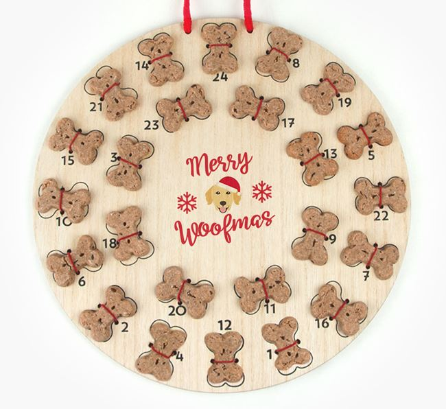 Personalised Dog Biscuit 'Merry Woofmas' Advent Calendar with Golden Retriever Icon