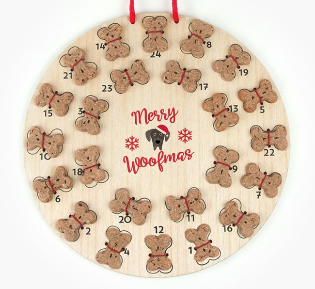 Personalised Dog Biscuit 'Merry Woofmas' Advent Calendar with Great Dane Icon