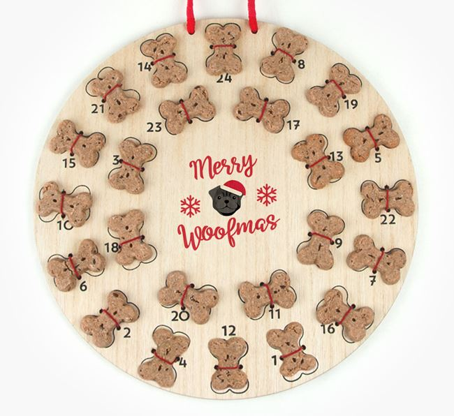 Personalised Dog Biscuit 'Merry Woofmas' Advent Calendar with Pug Icon