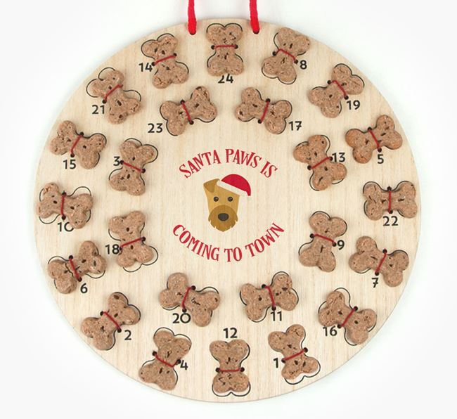 Personalised Dog Biscuit 'Santa Paws' Advent Calendar with Airedale Terrier Icon